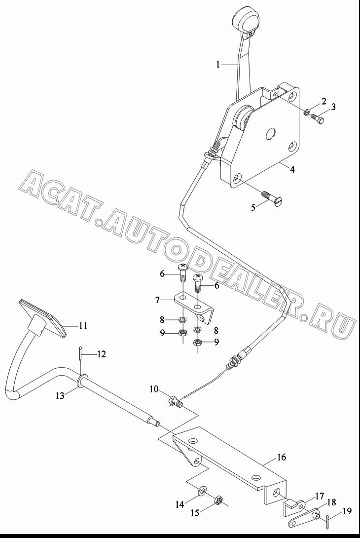 Hand throttle assembly FT700.20.019 для Foton Europard 25 серия