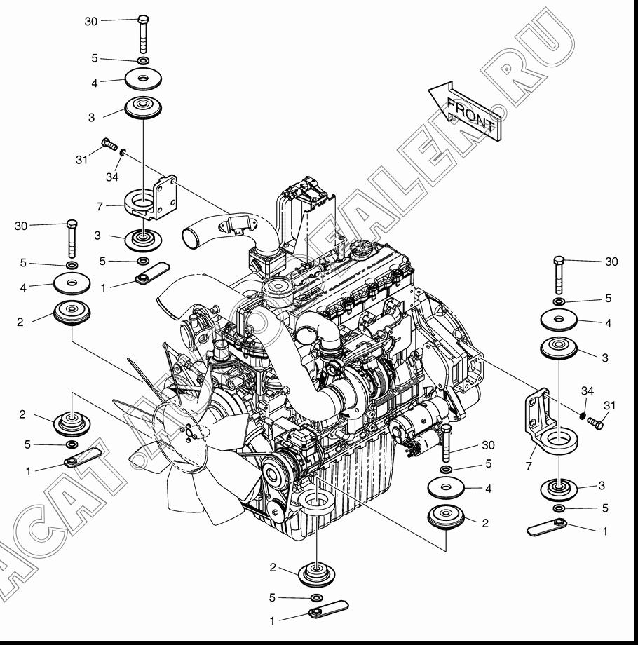 ENGINE MOUNTING K1013130H для Doosan DX140W (Tier-3)