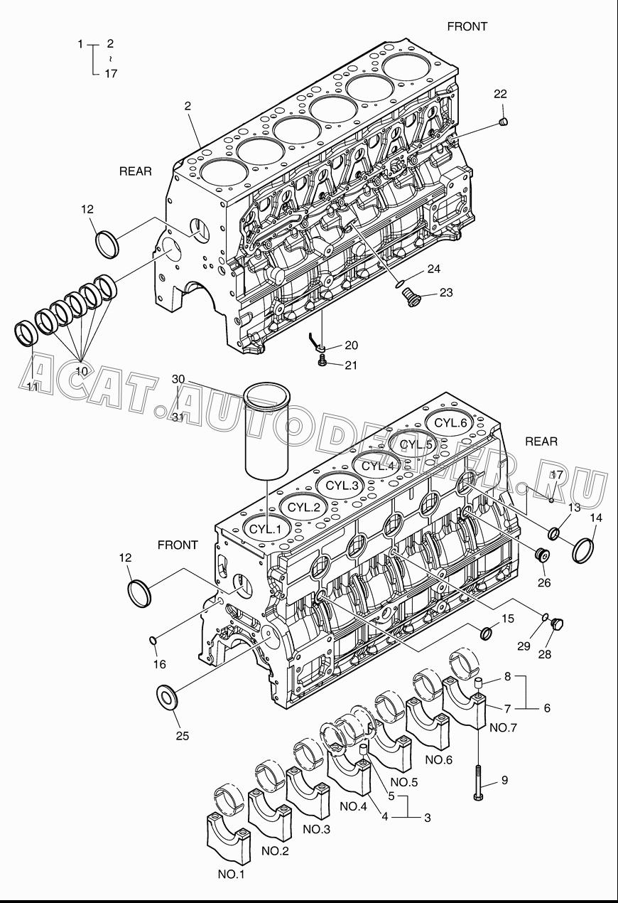 CYLINDER BLOCK 65.01101-0054 для Doosan DX140W (Tier-3)