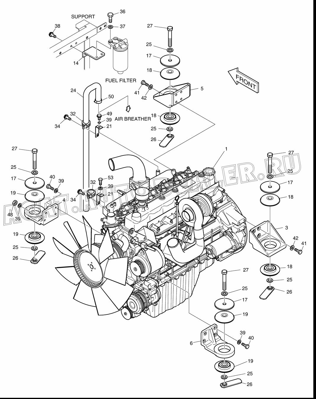 ENGINE-DB58TI K1000967A для Doosan DX225LCA