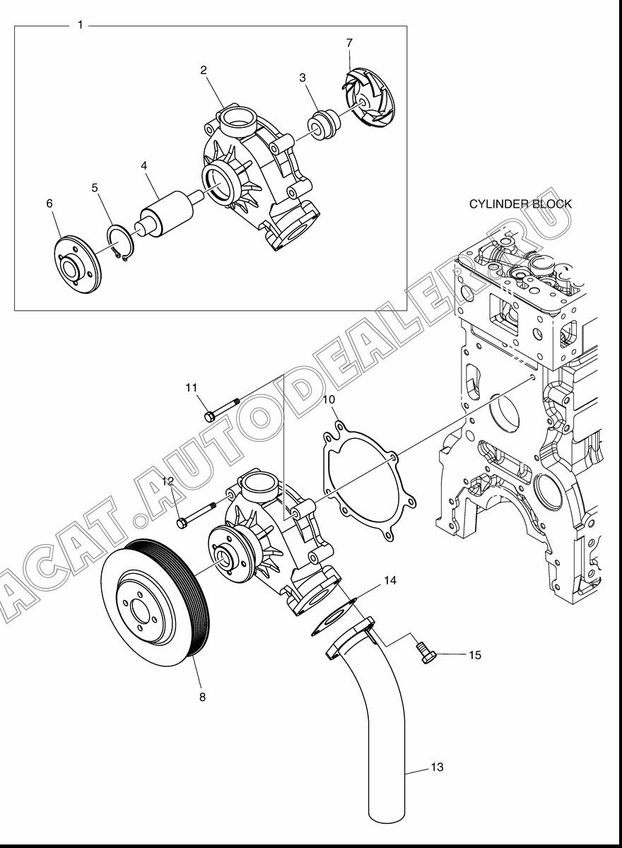 WATER PUMP ASS'Y 65.06500-6171A для Doosan DX225NLC